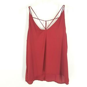 Timing Halter Tank Blouse Red Strappy Semi Sheer
